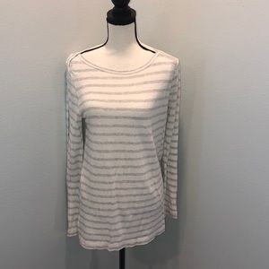 Ann Taylor Loft gray and white strip LS shirt L